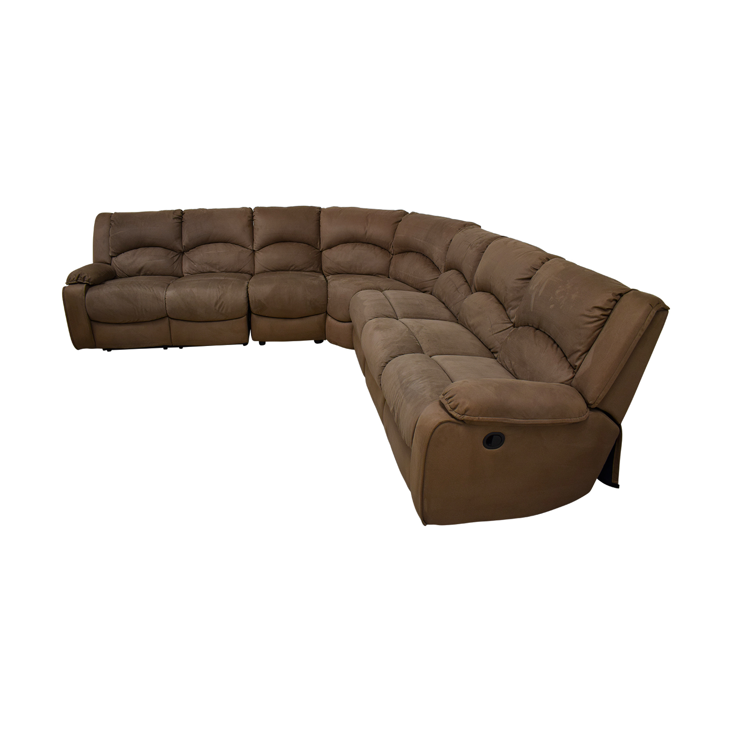 Raymour & Flanigan Raymour & Flanigan Mocha Microfiber L-Shaped Sectional discount