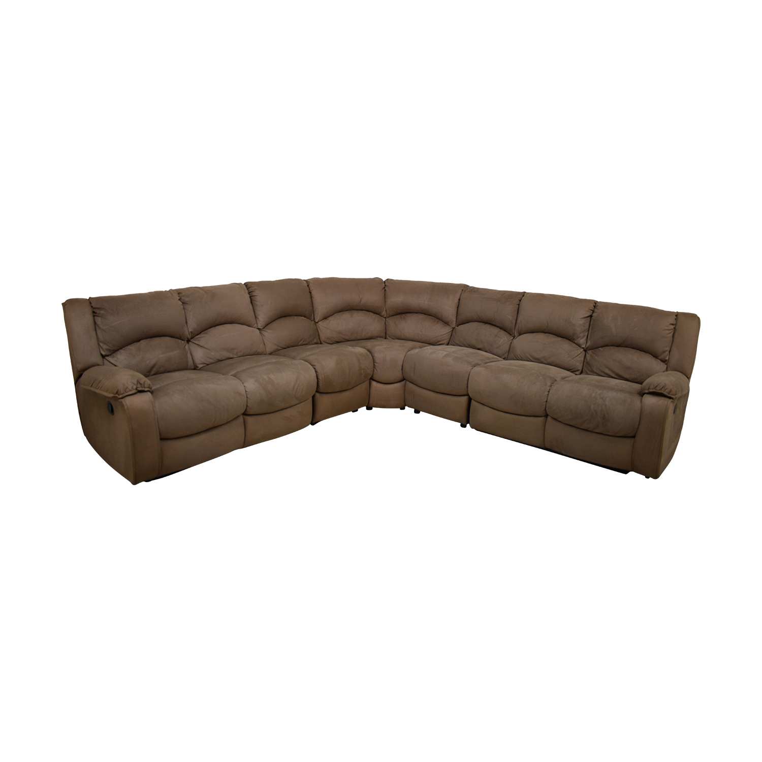 Raymour & Flanigan Raymour & Flanigan Mocha Microfiber L-Shaped Sectional for sale