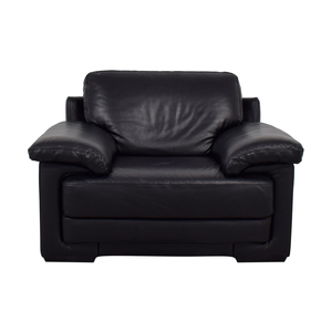 Natuzzi Black Leather Accent Chair sale