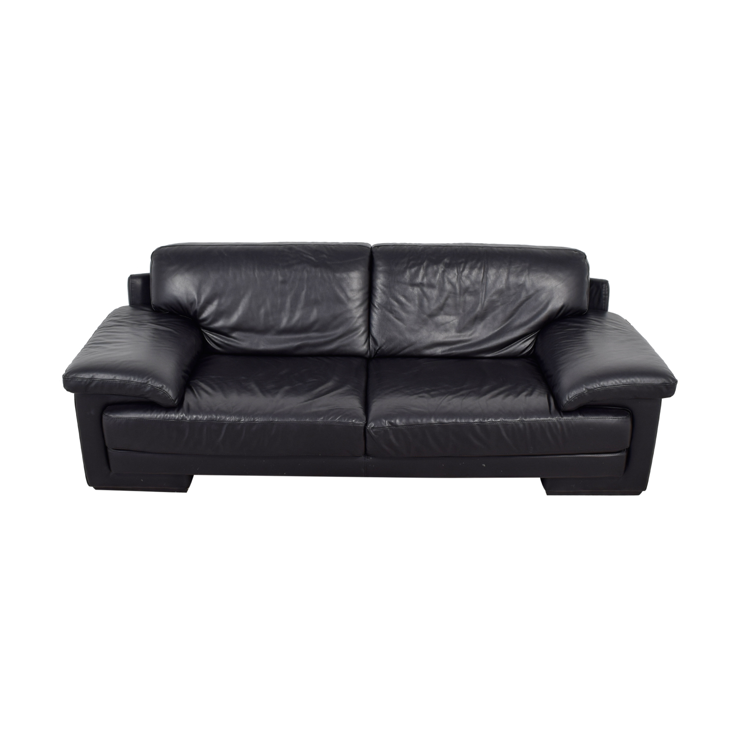 Natuzzi Black Leather Two-Cushion Couch sale