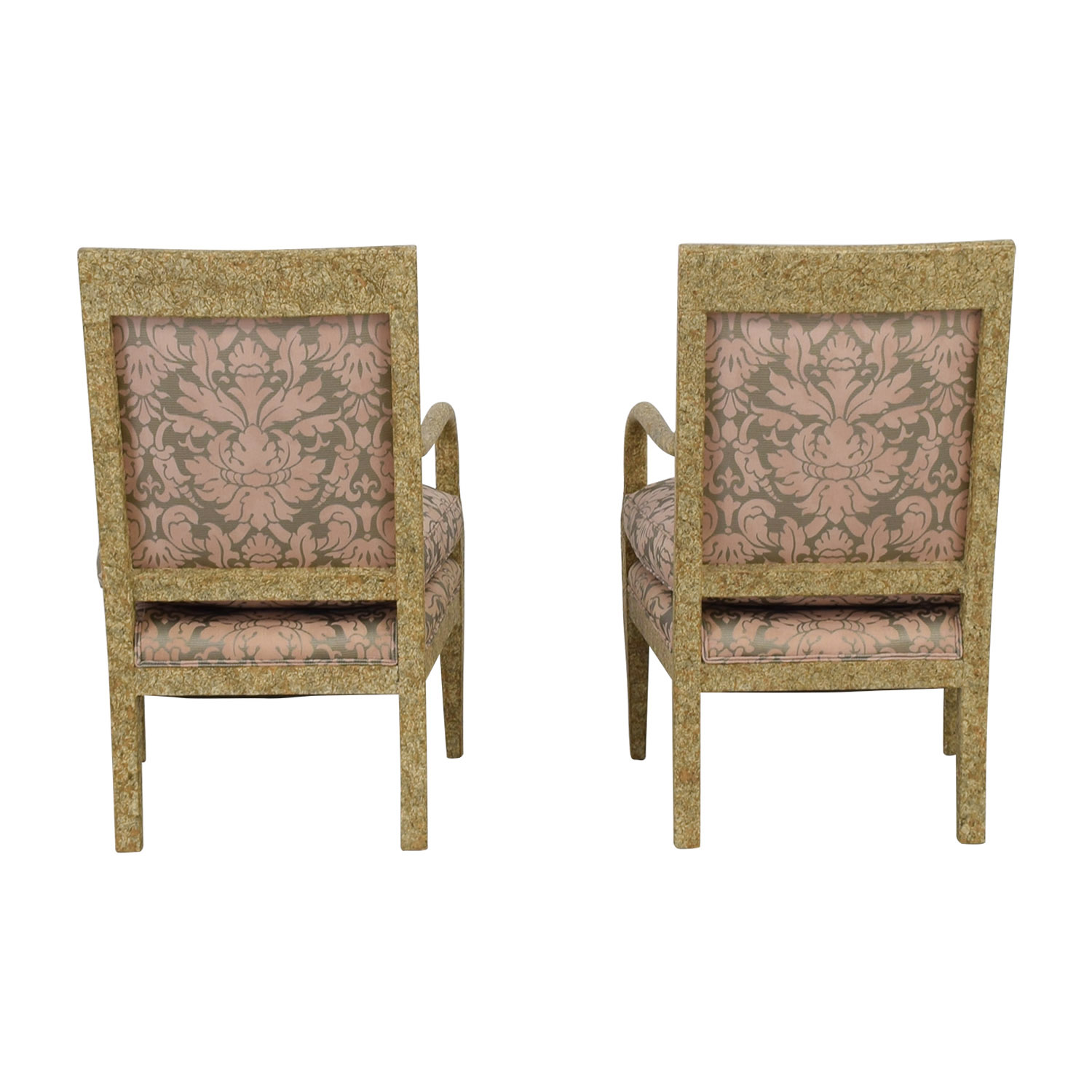 Weathered Wood and Pink Fabric Arm Chairs Multi-Colored