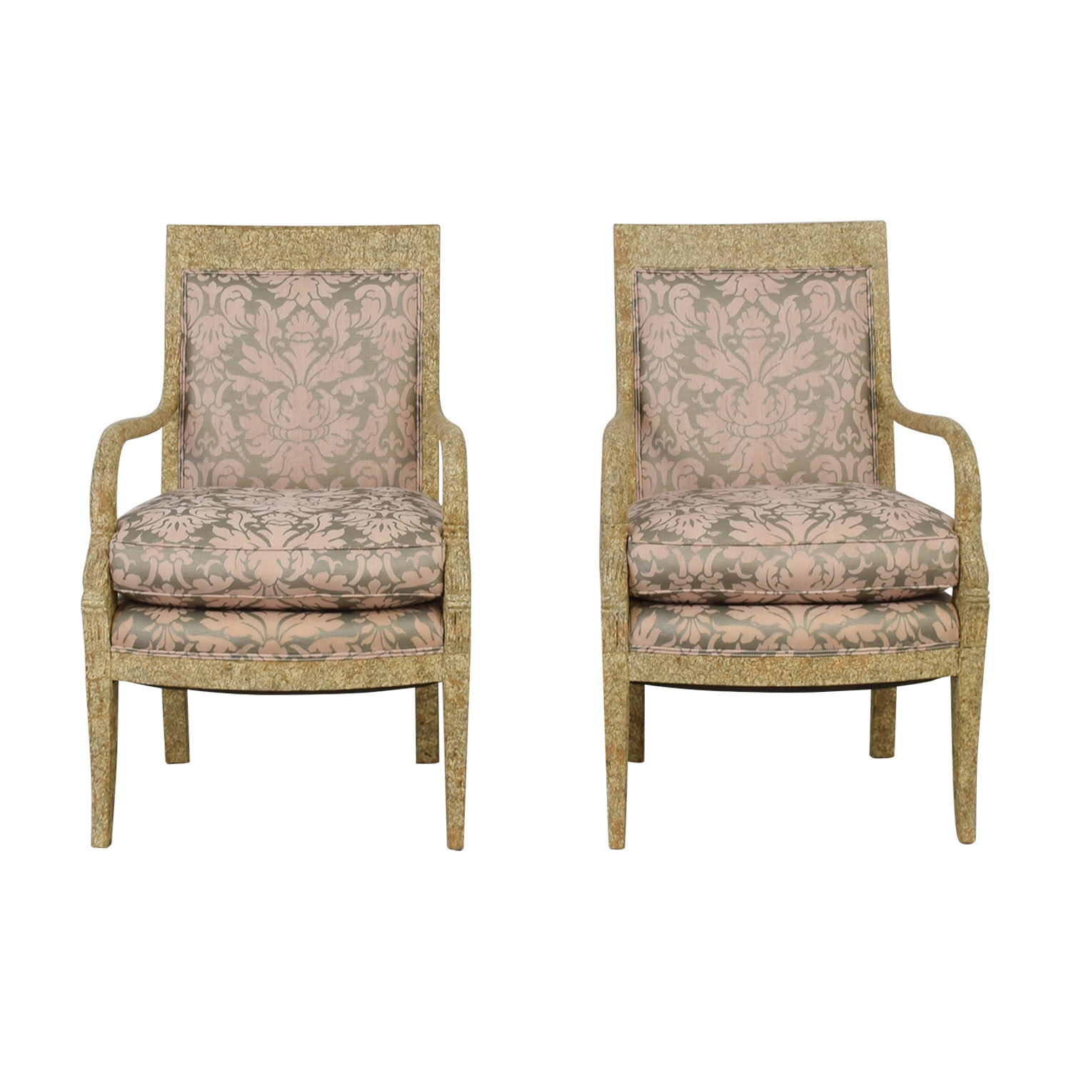 Weathered Wood And Pink Fabric Arm Chairs Used