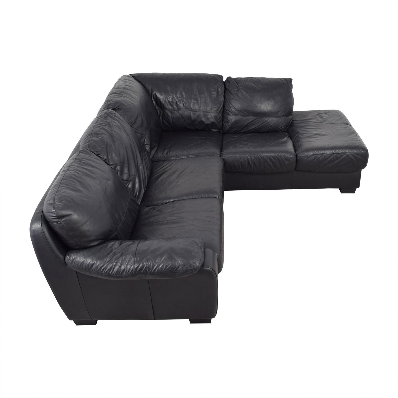 Phenomenal 70 Off Zen Black Leather Sectional Sofas Machost Co Dining Chair Design Ideas Machostcouk