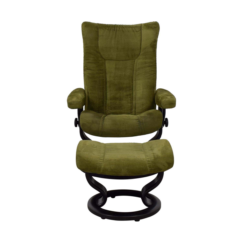 87% OFF Ekornes Ekornes Green Recliner with Foot Stool Chairs
