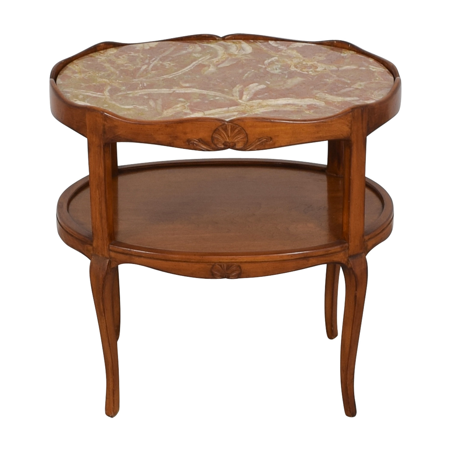 Cherry Wood with Marble Top Oval Side Table on sale