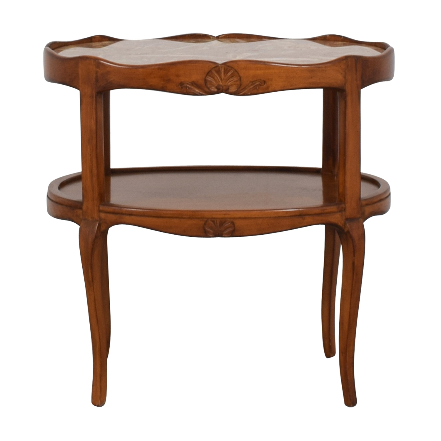 Cherry Wood with Marble Top Oval Side Table discount