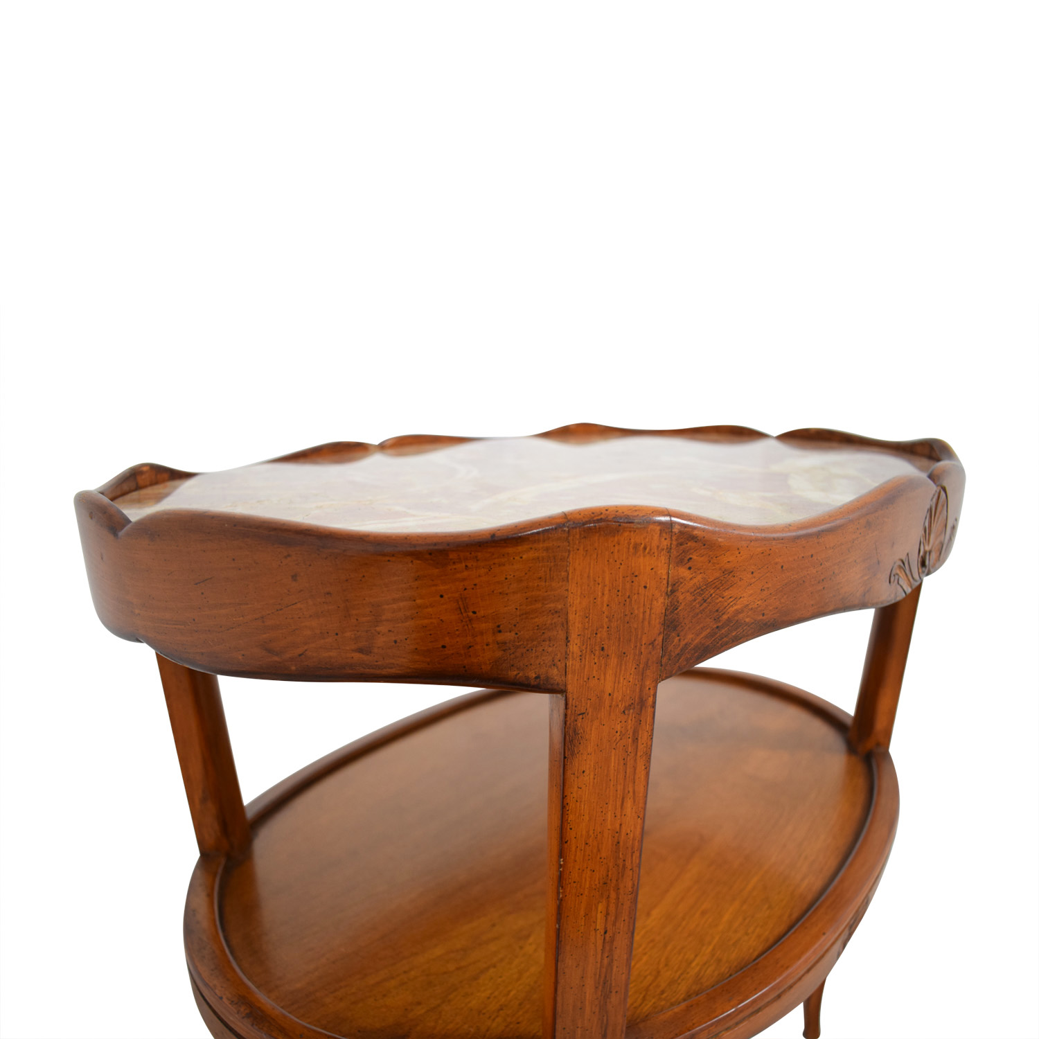 90 Off Cherry Wood With Marble Top Oval Side Table Tables