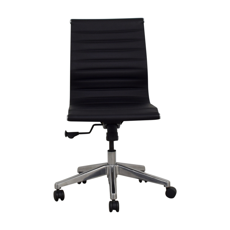 buy  Black Mid-Back Armless Ribbed Office Chair online