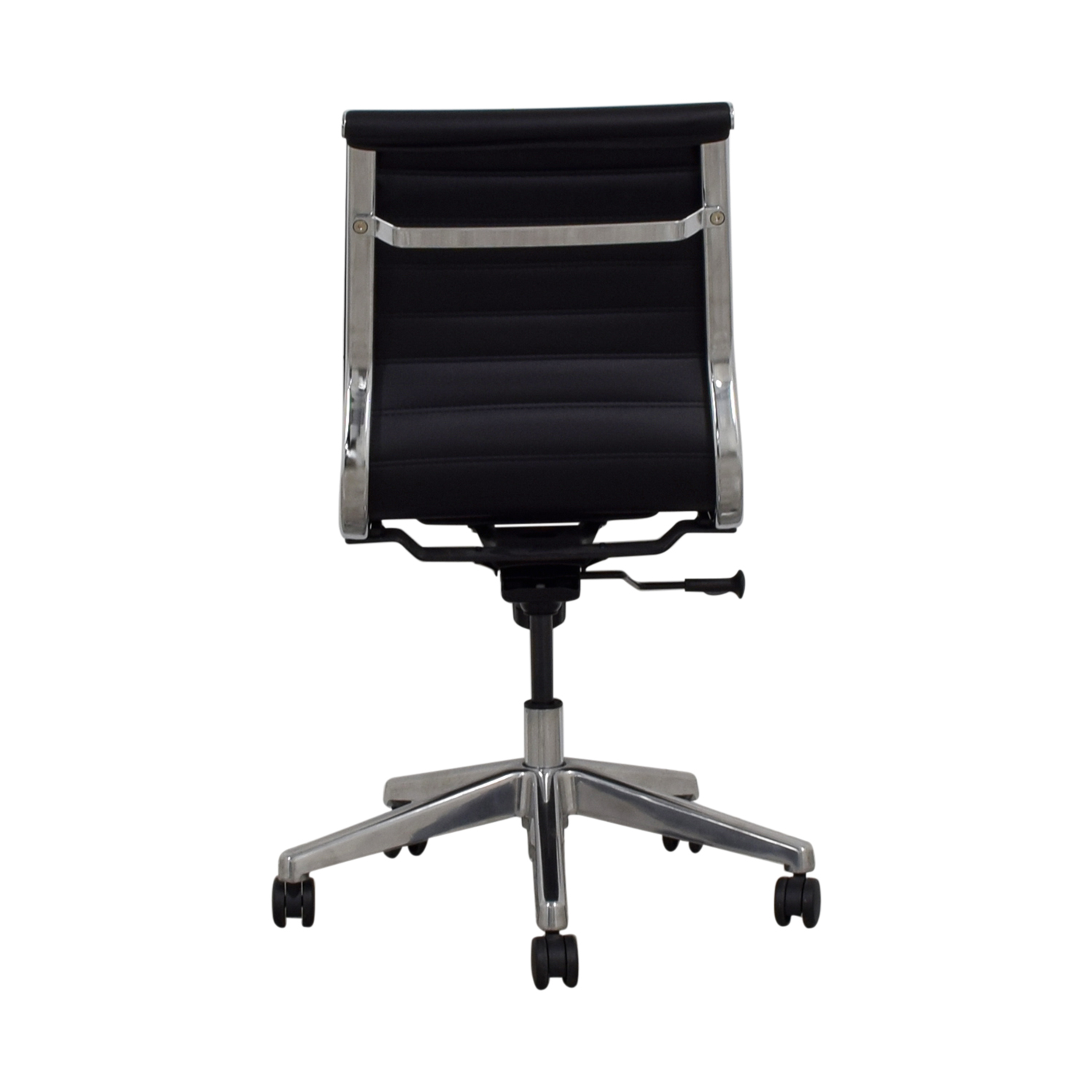 Black Mid-Back Armless Ribbed Office Chair on sale