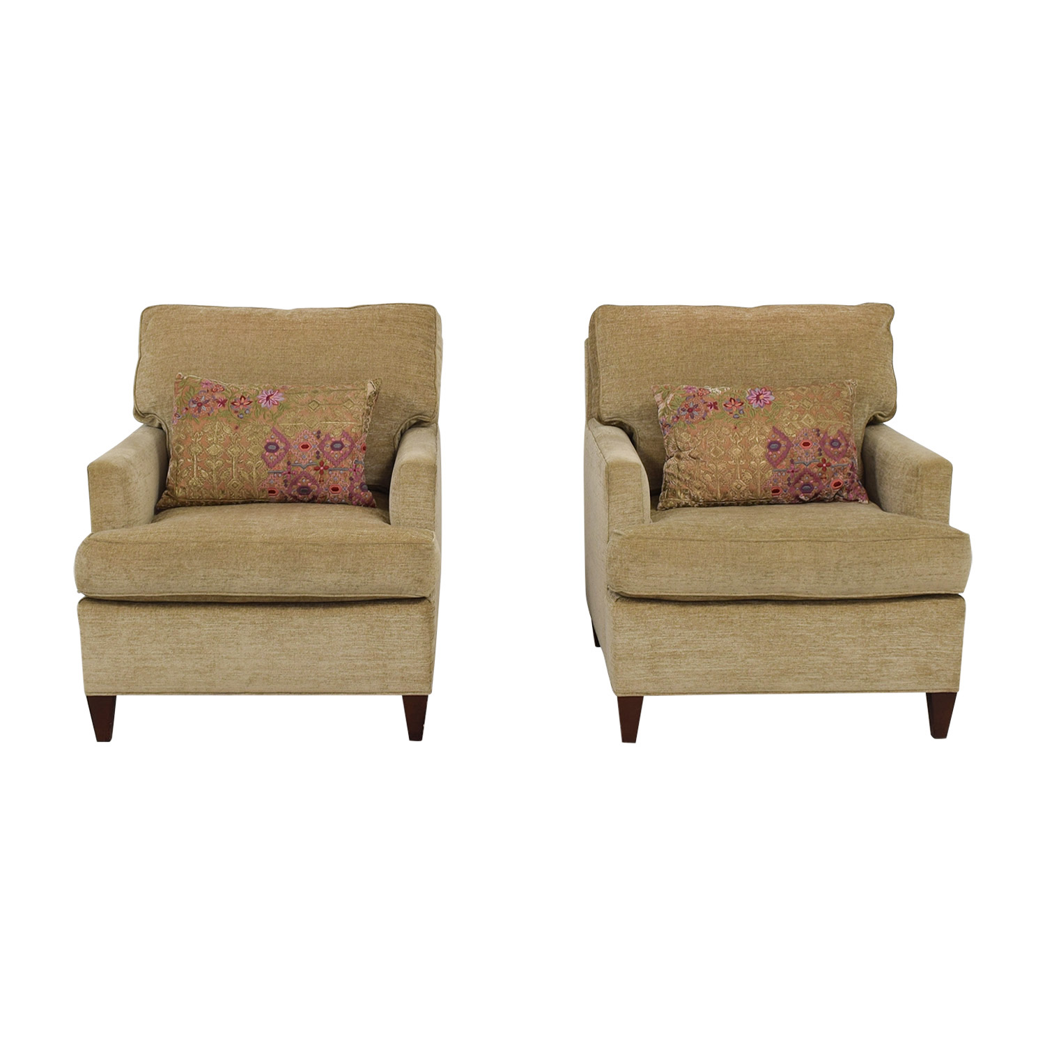 Hickory Chair Hickory Chair Beige Chenille Accent Chairs with Toss Pillows Chairs