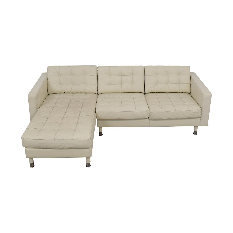 IKEA IKEA Landskrona White Tufted Chaise Sectional