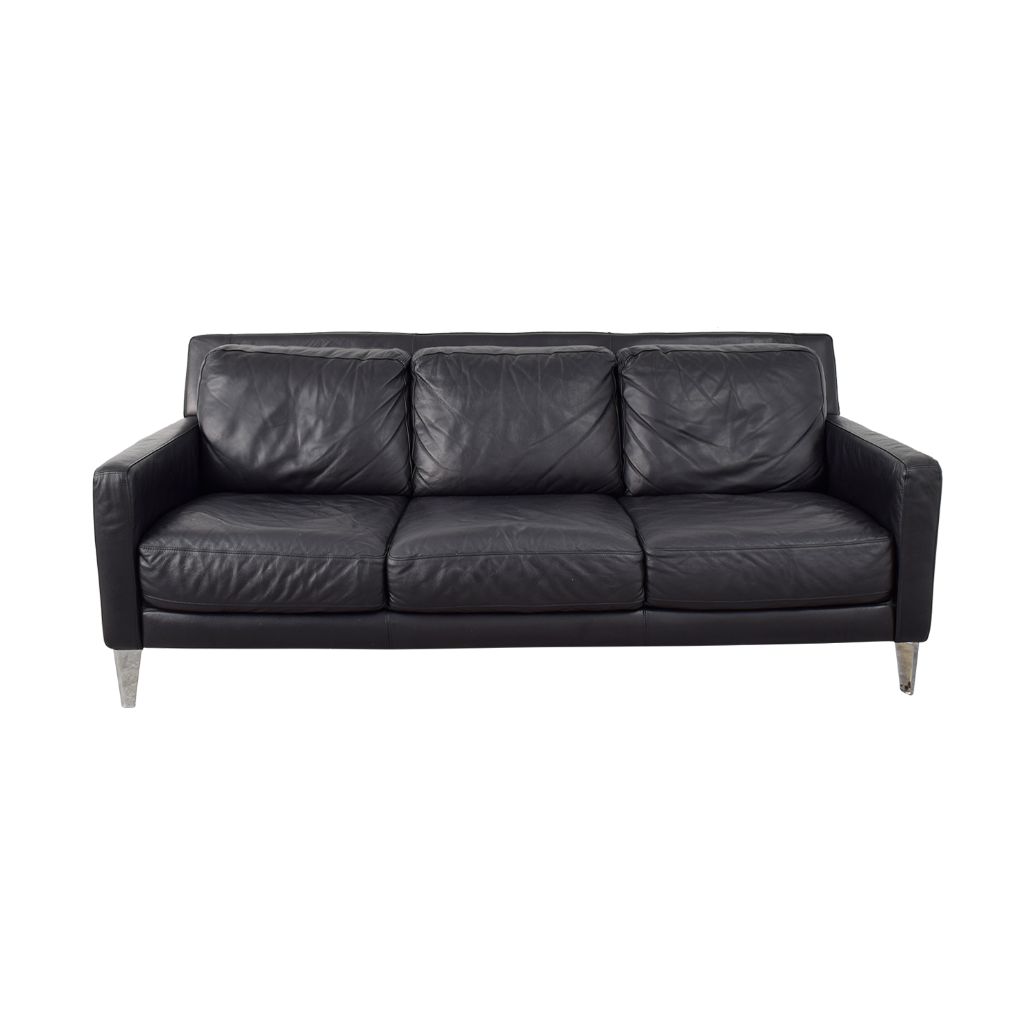 Bloomingdale's Bloomingdale's Black Italian Leather Three-Cushion Sofa for sale