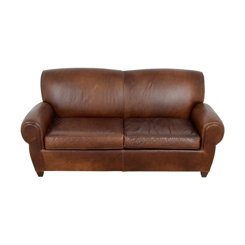 Mitchell Gold + Bob Williams Manhattan Brown Leather Sofa / Sofas
