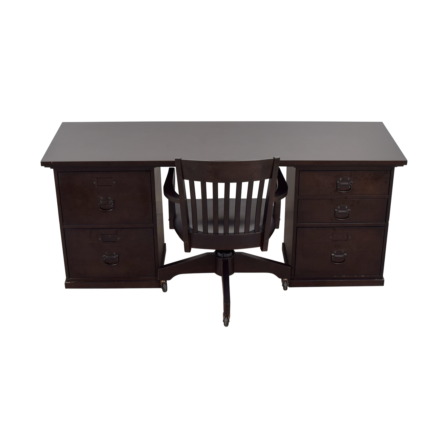 Pottery Barn Espresso Bedford Five Drawer Rectangular Desk with Chair / Sofas