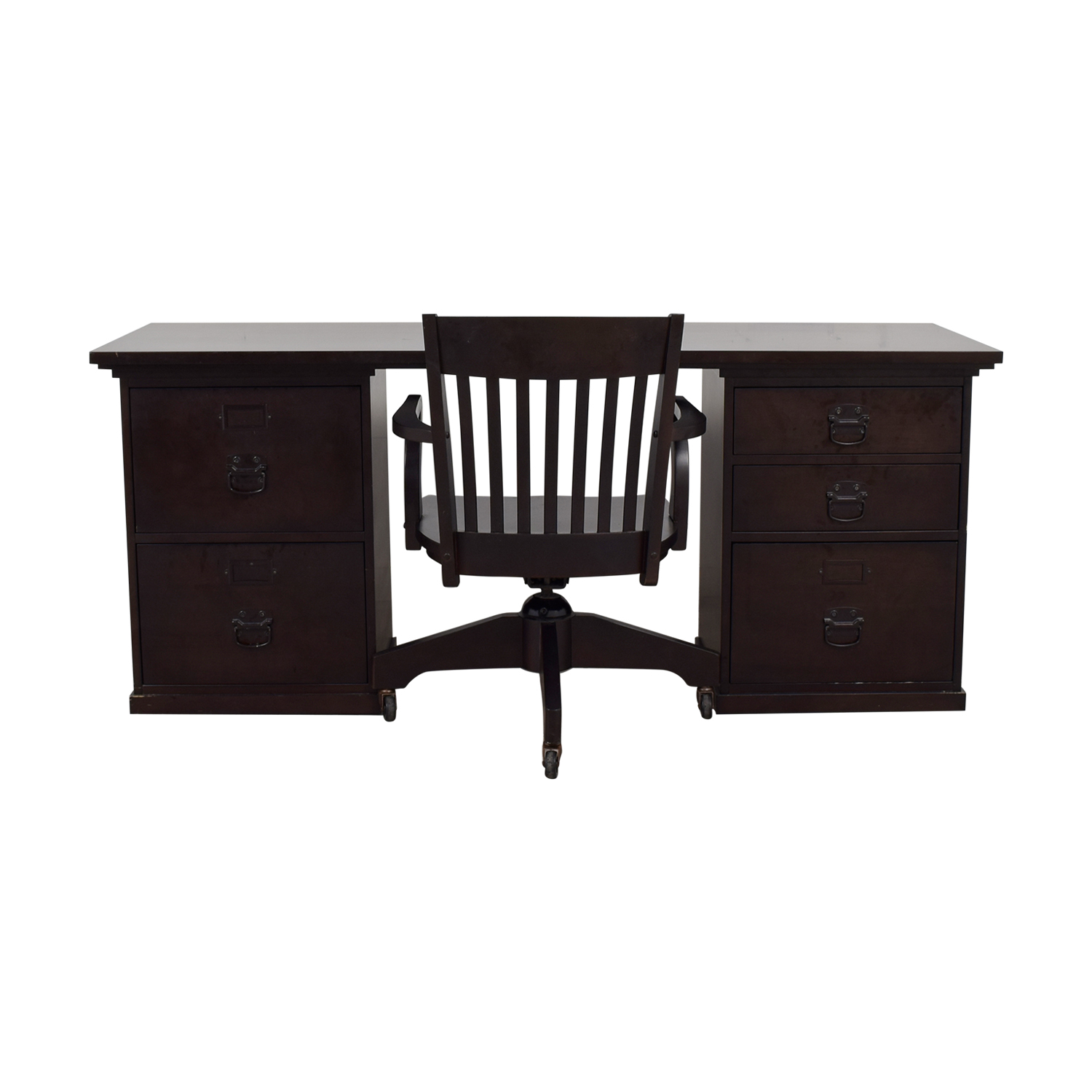 Pottery Barn Espresso Bedford Five Drawer Rectangular Desk With Chair Home Office Desks