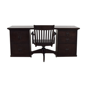Pottery Barn Pottery Barn Espresso Bedford Five Drawer Rectangular Desk with Chair discount