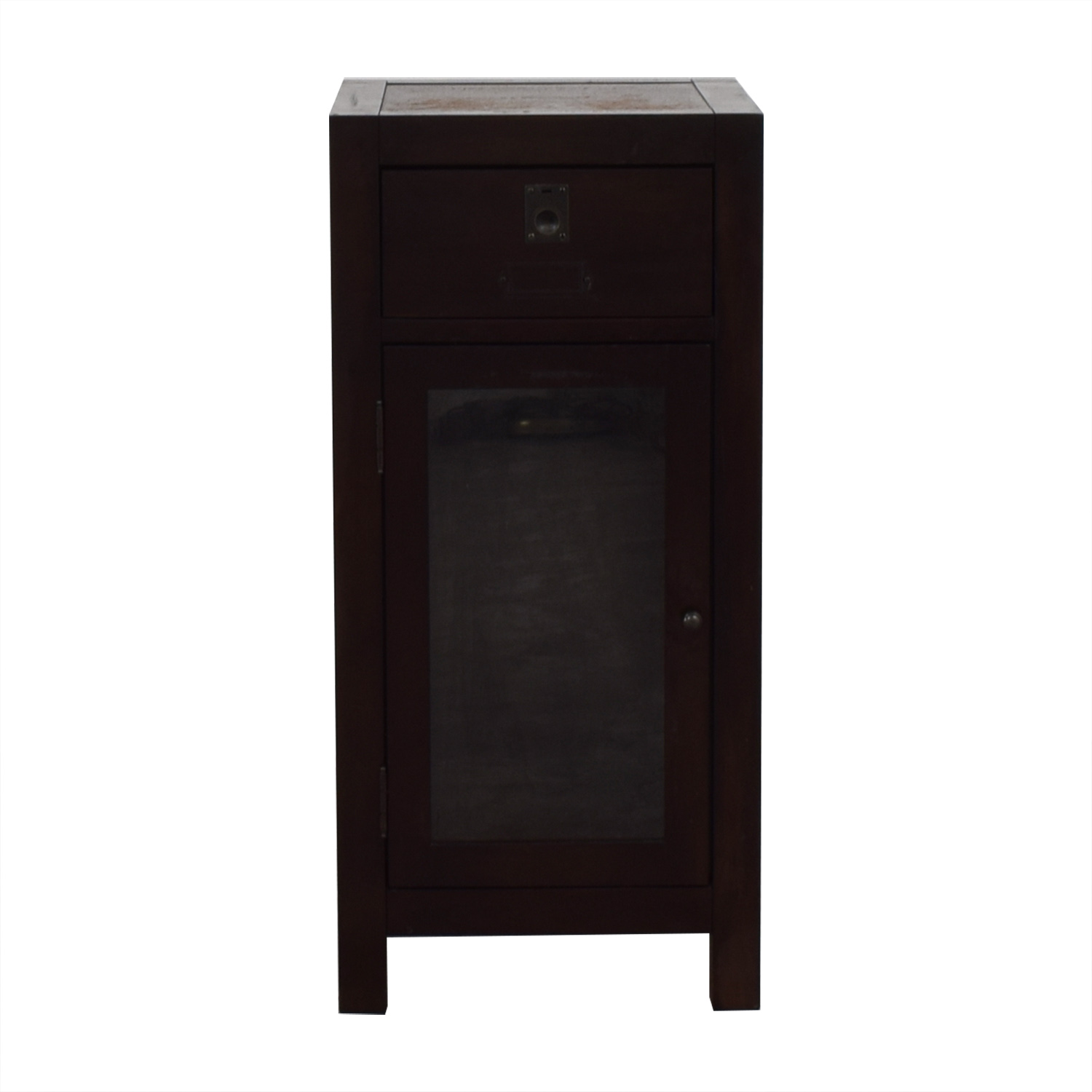 buy Pottery Barn Brown End Table with Cabinet Pottery Barn