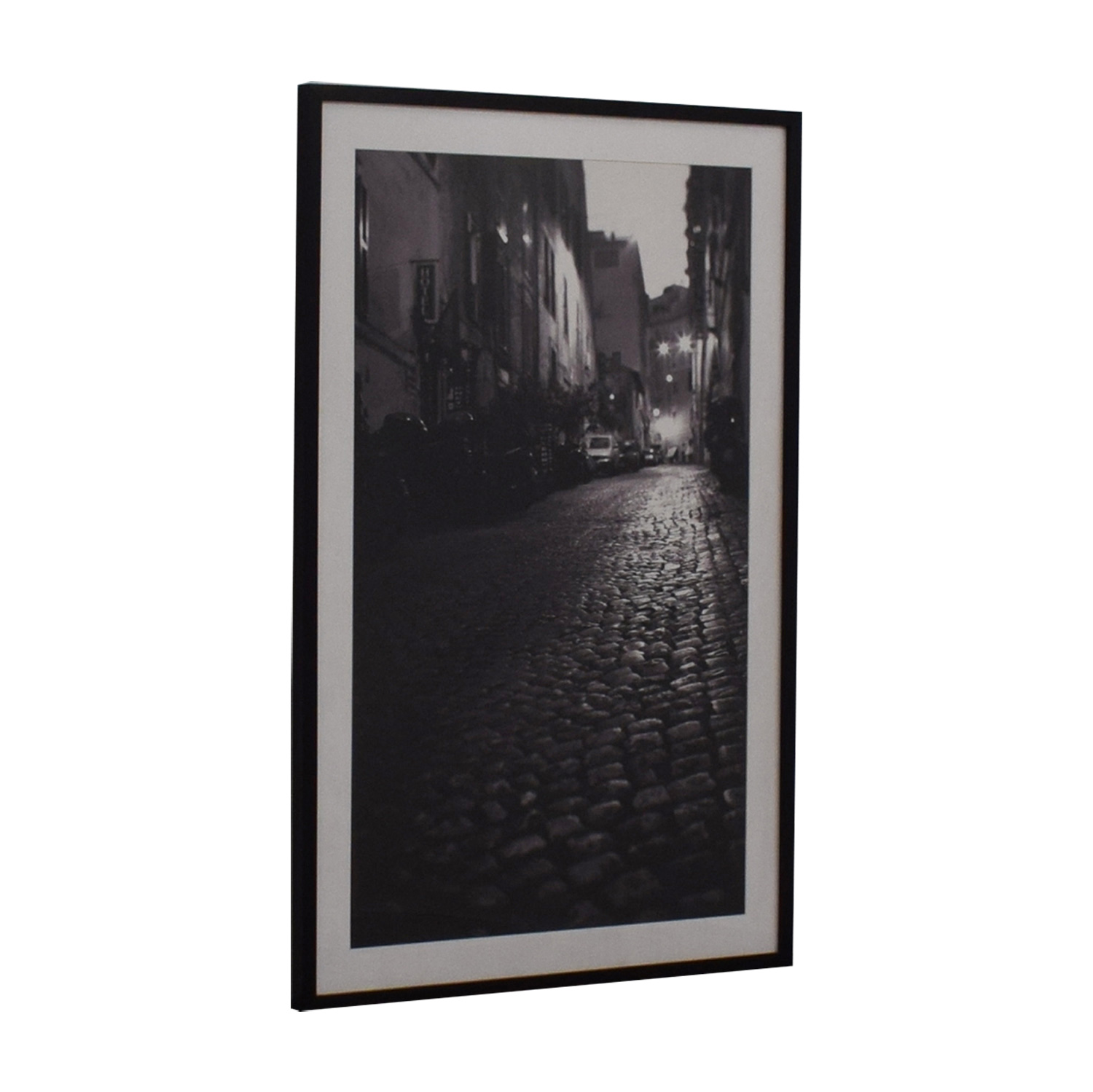Pottery Barn Framed Photograph Cobblestone Street in Black and White sale