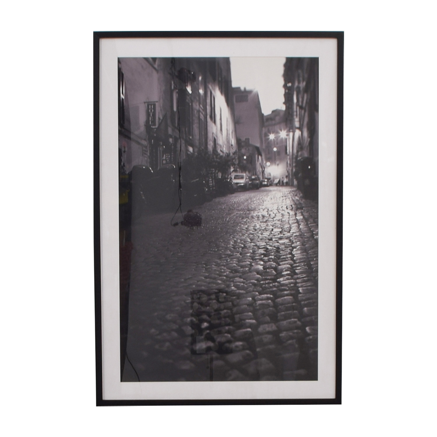 Pottery Barn Pottery Barn Framed Photograph Cobblestone Street in Black and White nj