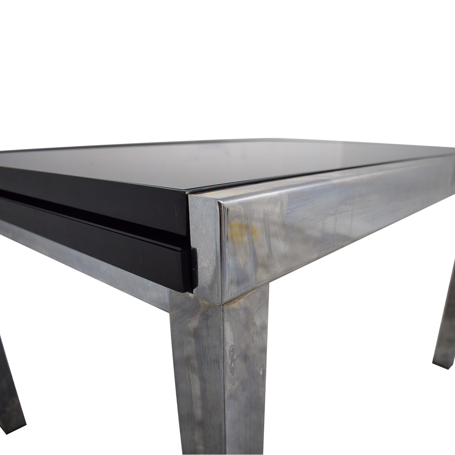 Roche Bobois Gl And Chrome Extendable Dining Table Tables