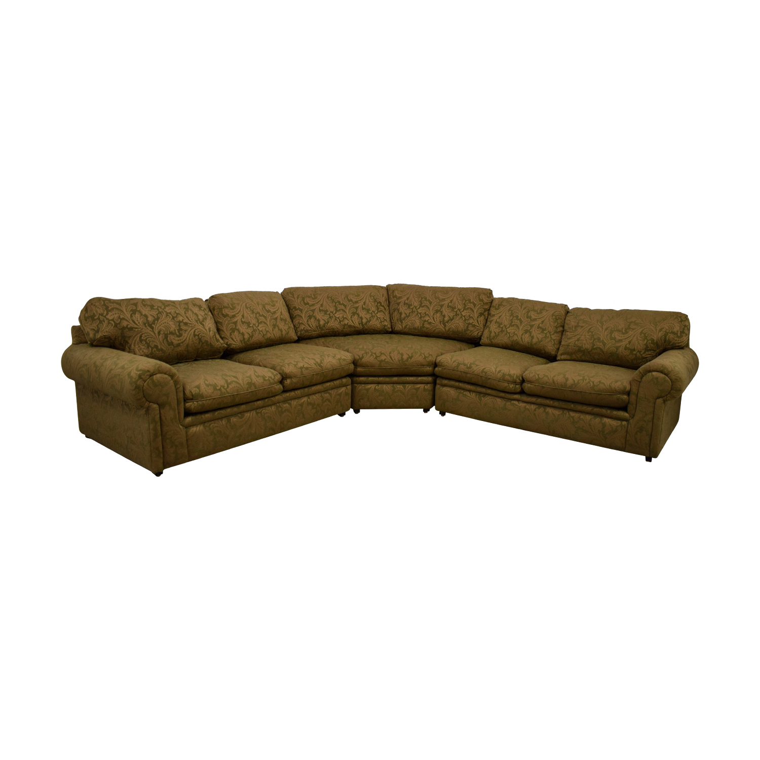 buy Bernhardt Bernhardt Green and Tan L-Shaped Curved Corner Sectional online