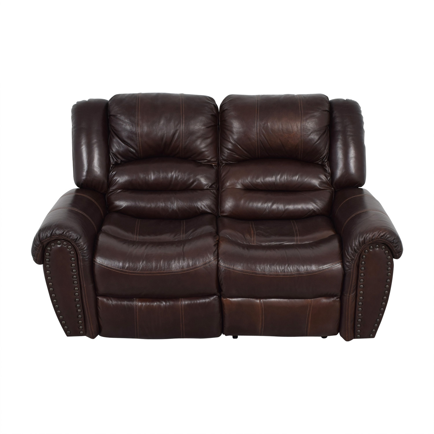 Raymour & Flanigan Raymour & Flanigan Brown Leather Double Reclining Loveseat second hand