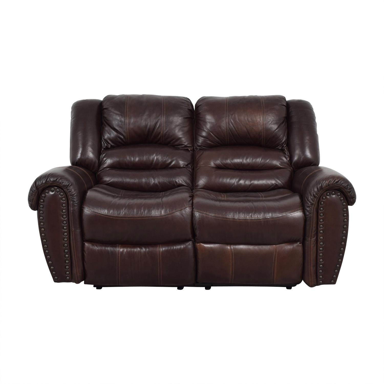 Raymour & Flanigan Raymour & Flanigan Brown Leather Double Reclining Loveseat coupon