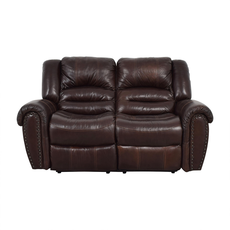 Raymour & Flanigan Raymour & Flanigan Brown Leather Double Reclining Loveseat nyc