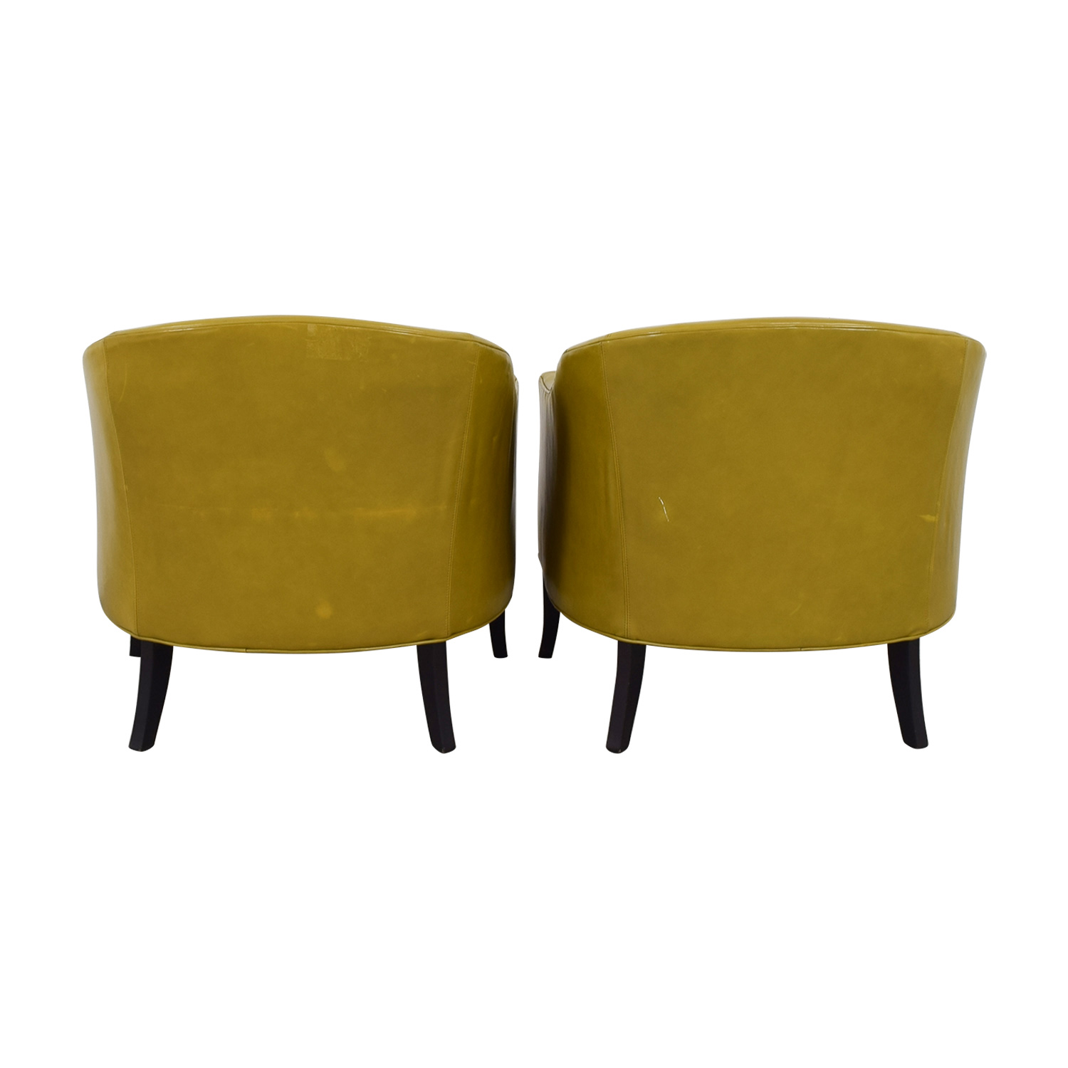 Crate & Barrel Lemon Green Leather Side Chairs / Accent Chairs
