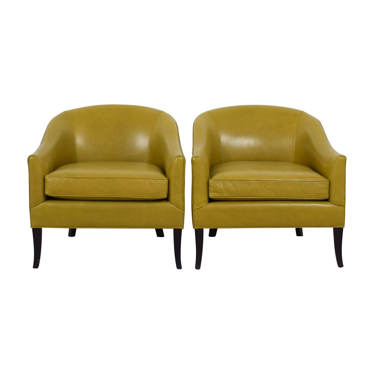 Crate & Barrel Crate & Barrel Lemon Green Leather Side Chairs Accent Chairs