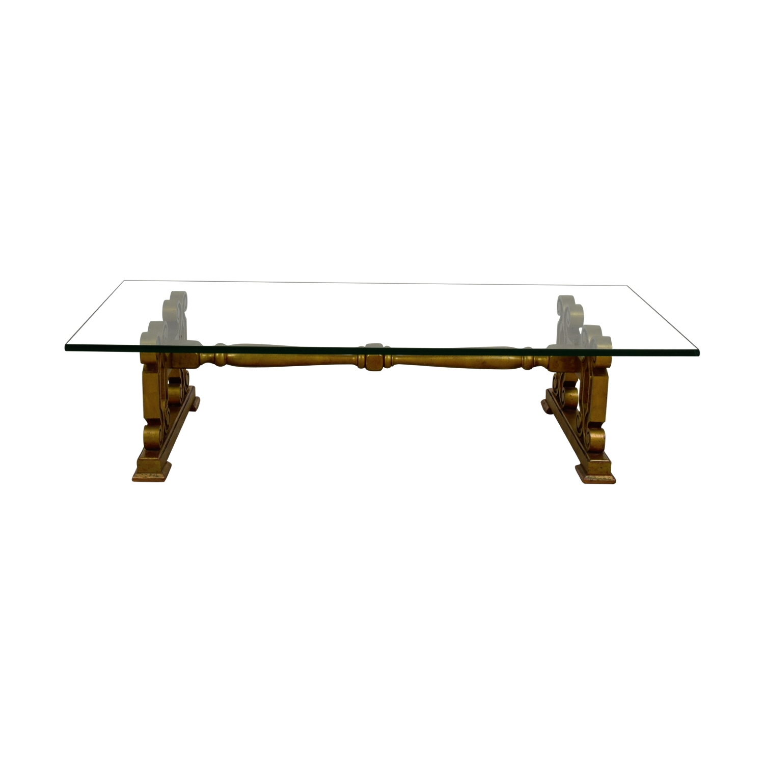 Antique Glass Coffee Table gold