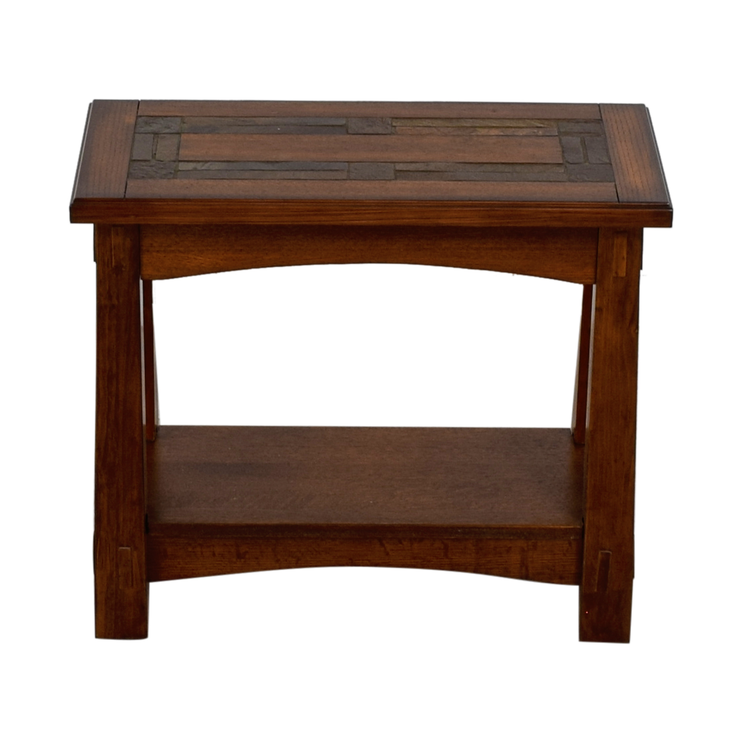 shop Raymour & Flanigan American Oak Chairside Table Raymour & Flanigan