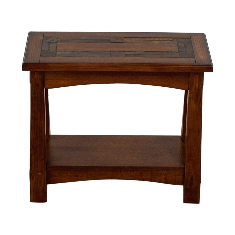 shop Raymour & Flanigan American Oak Chairside Table Raymour & Flanigan