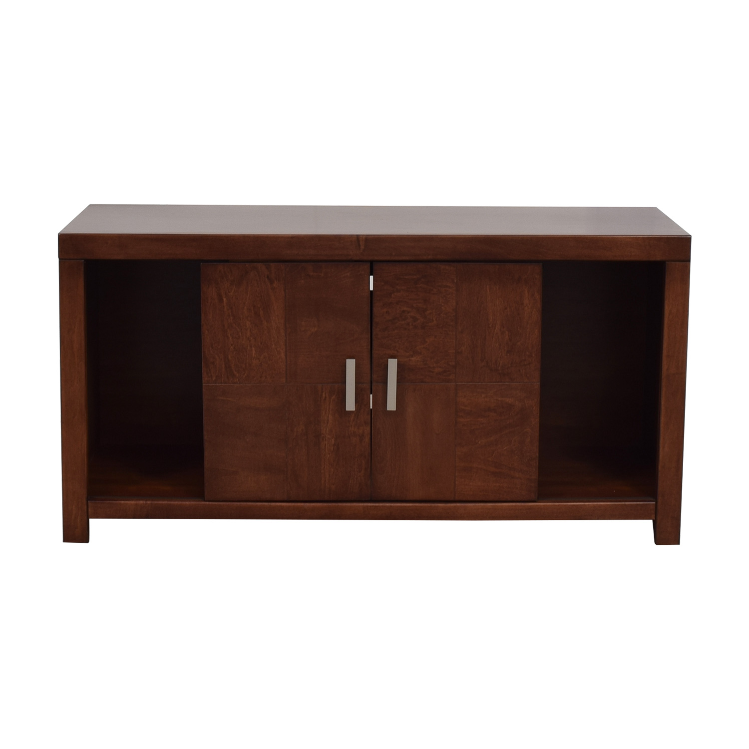 shop Raymour & Flanigan Cinnamon Maple Media Console Raymour & Flanigan Storage