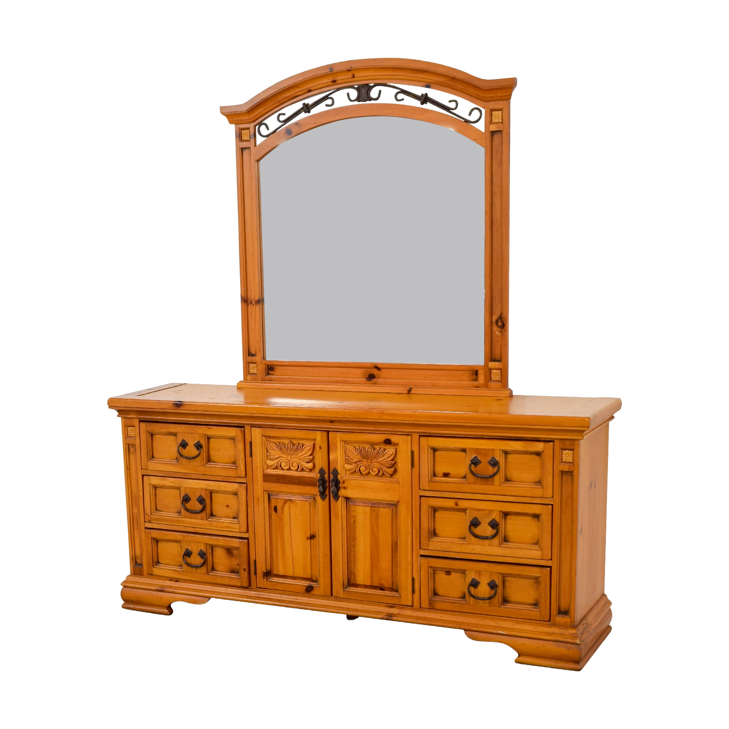 Broyhill Broyhill Six Drawer Dresser with Cabinets and Mirror second hand