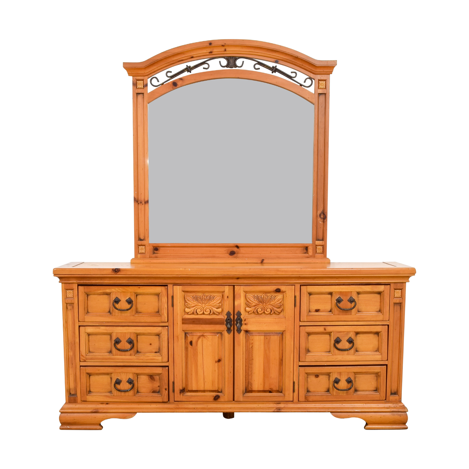 Broyhill Broyhill Six Drawer Dresser with Cabinets and Mirror nyc