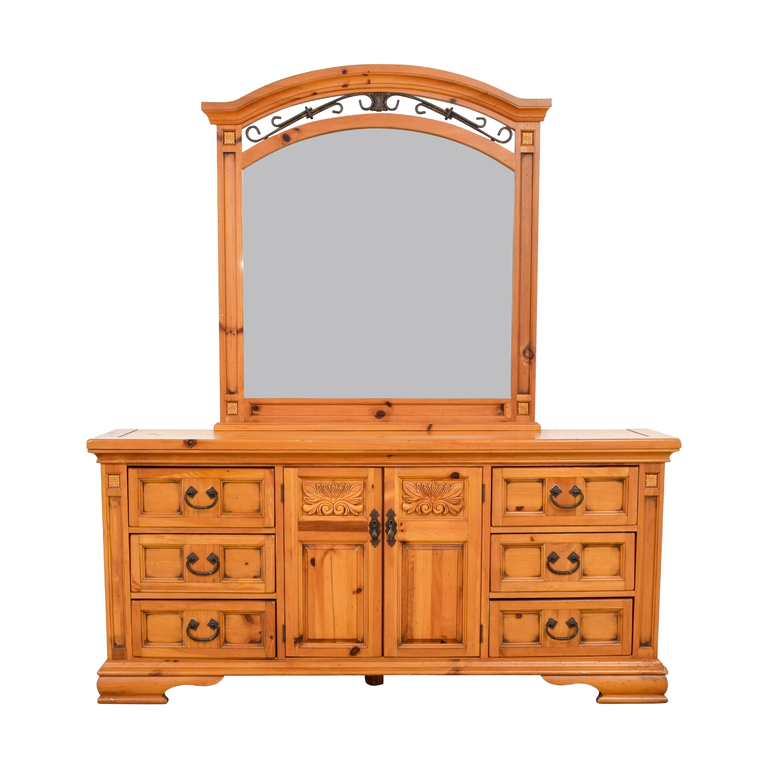 Broyhill Furniture Broyhill Six Drawer Dresser with Cabinets and Mirror for sale