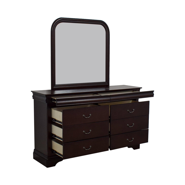 Raymour & Flanigan Raymour & Flanigan Charleston Six-Drawer Dresser with Trays and Mirror nyc