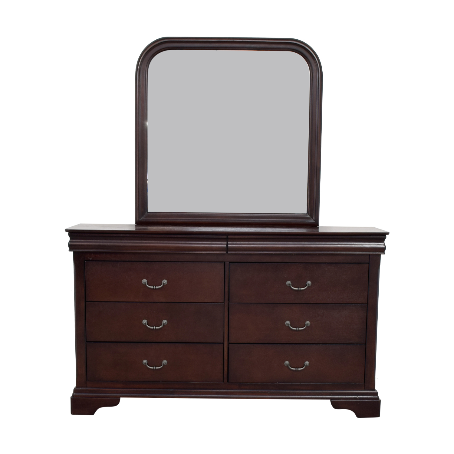 shop Raymour & Flanigan Raymour & Flanigan Charleston Six-Drawer Dresser with Trays and Mirror online