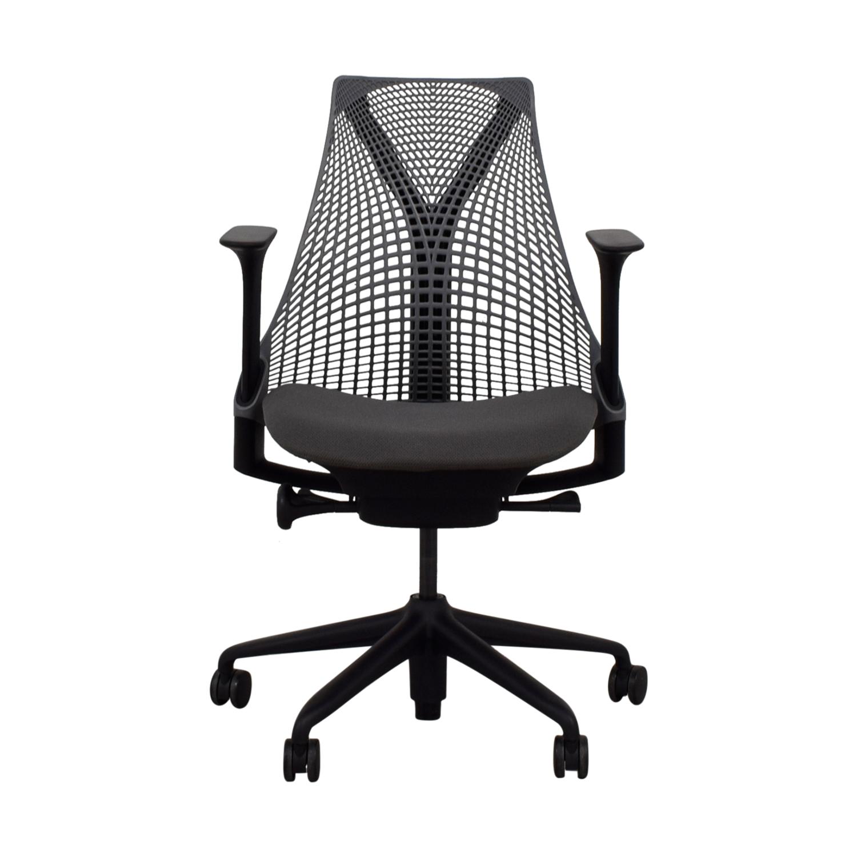buy Herman Miller Slate Grey and Black Sayl Chair Herman Miller Home Office Chairs
