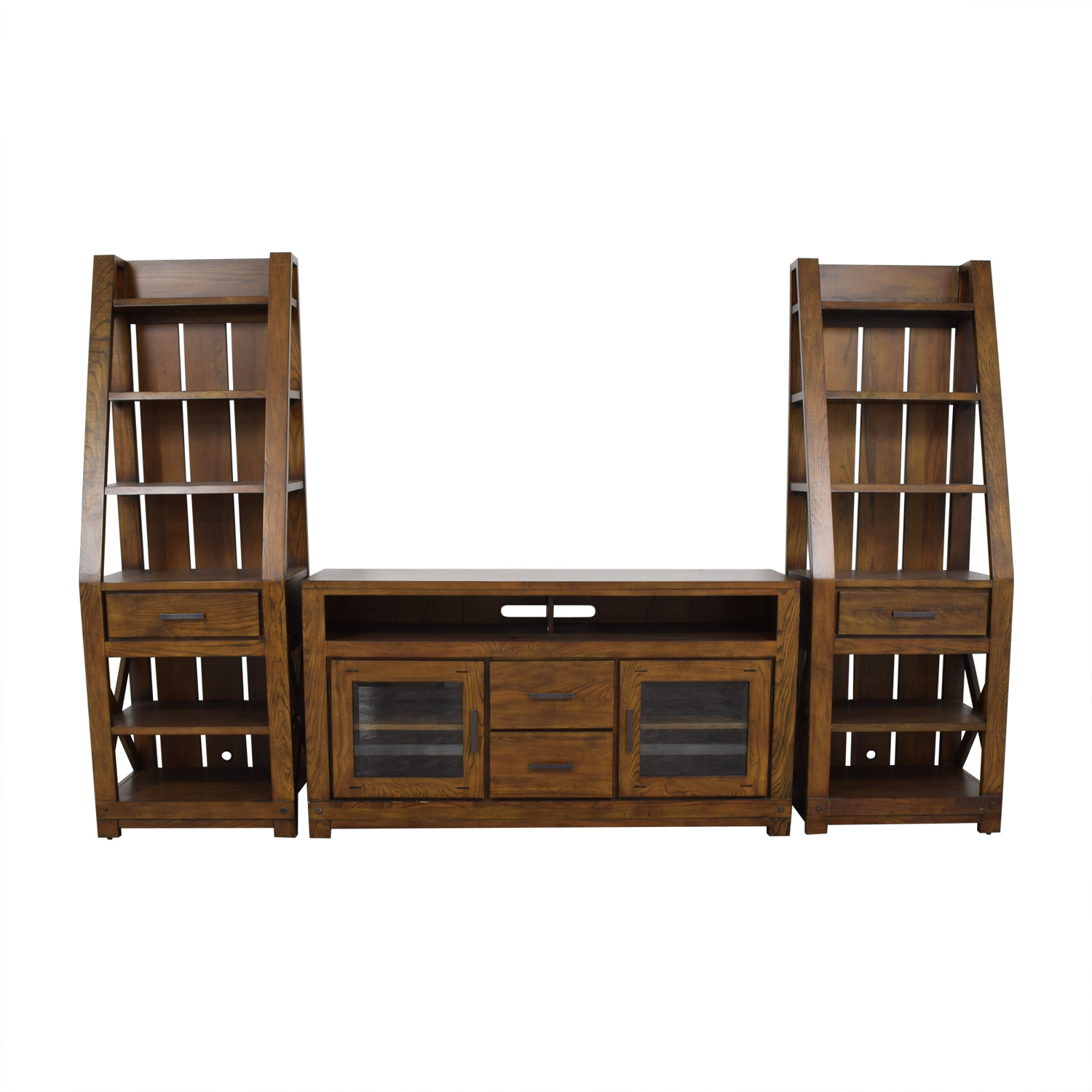 Raymour and Flanigan Wood Wall Unit with Shelves / Media Units