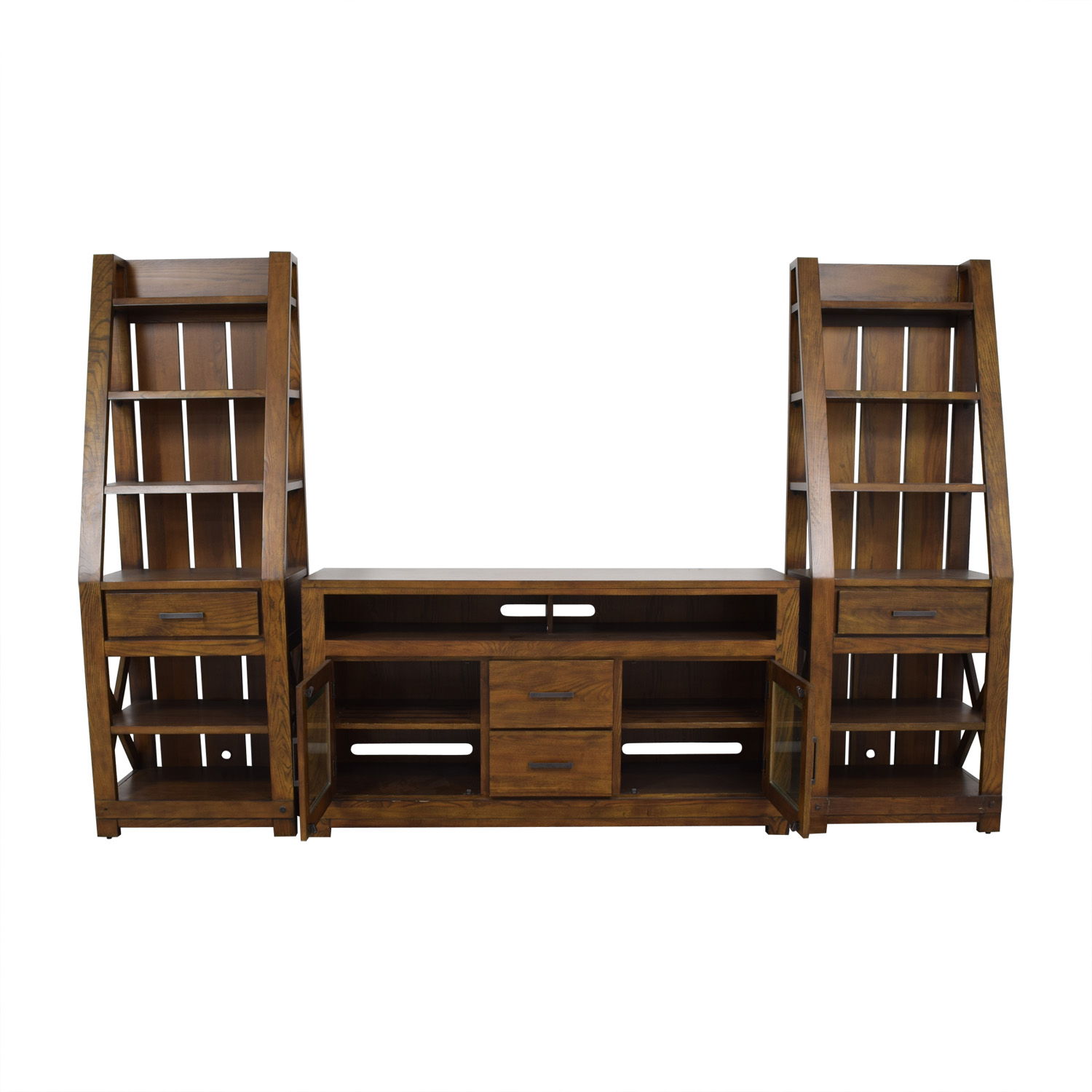 Raymour and Flanigan Raymour and Flanigan Wood Wall Unit with Shelves dimensions