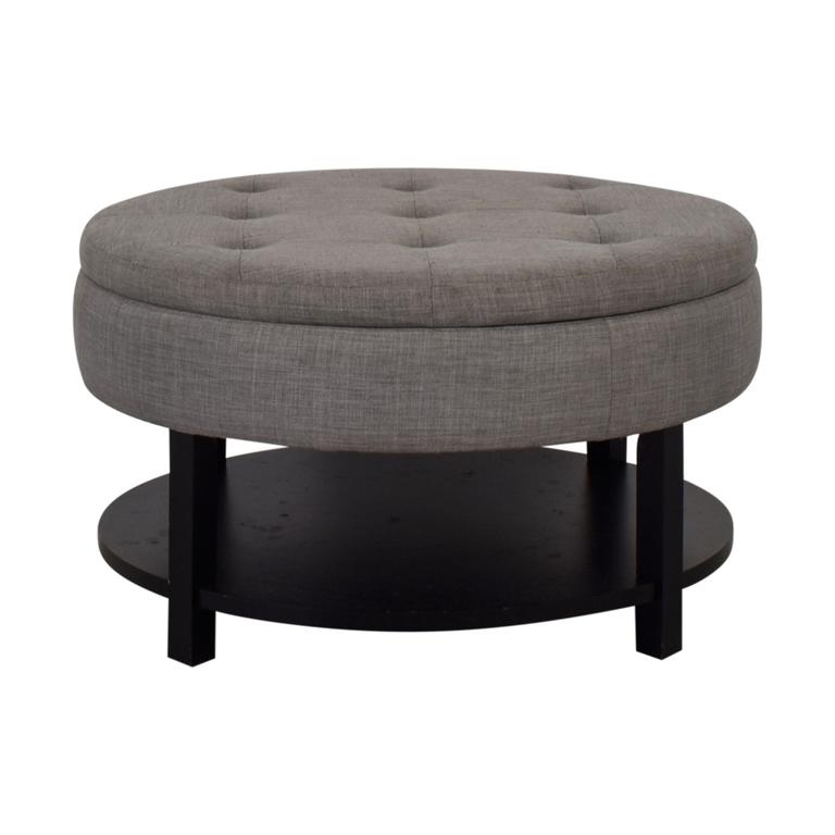 Hayneedle Hayneedle Belham Living Dalton Grey Coffee Table or Storage Ottoman with Tray Shelf nj