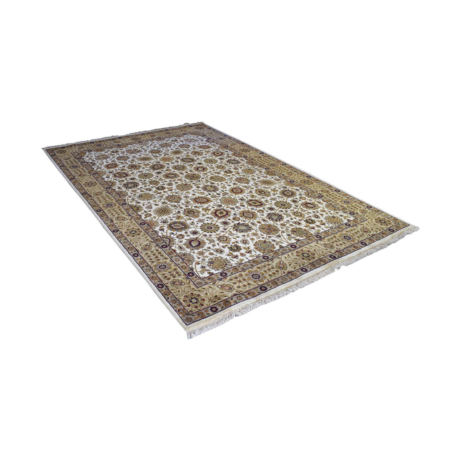 Abu Rugs and Home Abu Rugs and Home Beige Floral Oriental Rug on sale