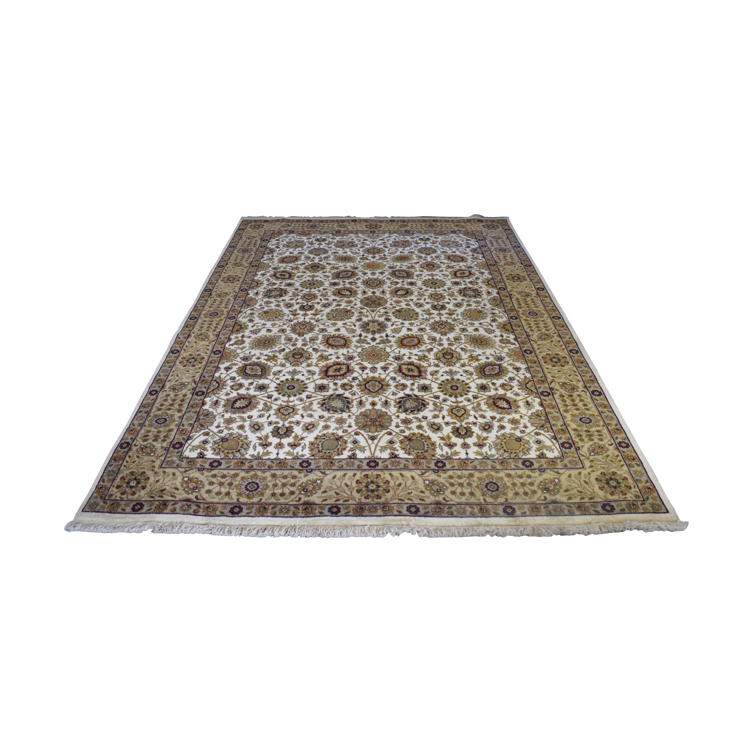 Abu Rugs and Home Abu Rugs and Home Beige Floral Oriental Rug dimensions