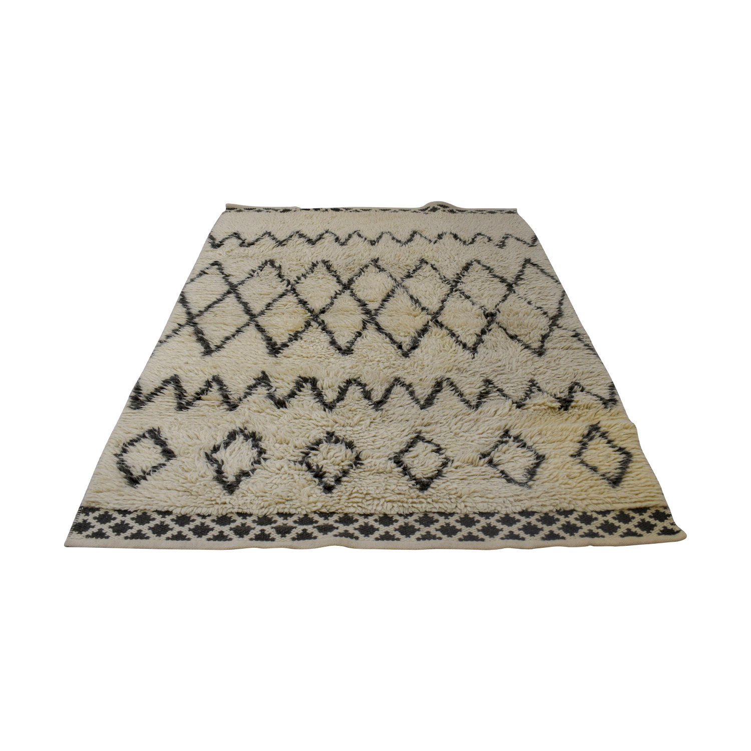 West Elm West Elm Beige and Grey Wool Rug discount