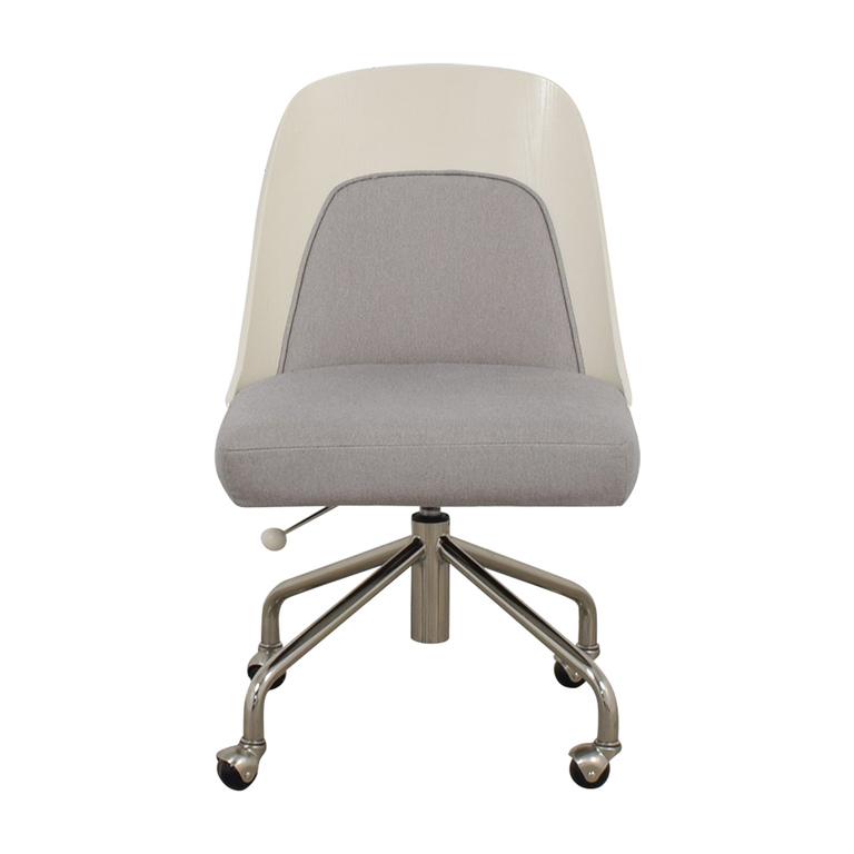 West Elm West Elm Bentwood Office Chair White Ash Gray Marled Microfiber used