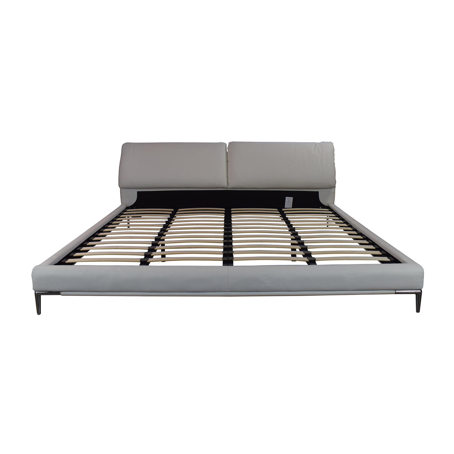 Modani White Leather Platform King Bed Frame sale