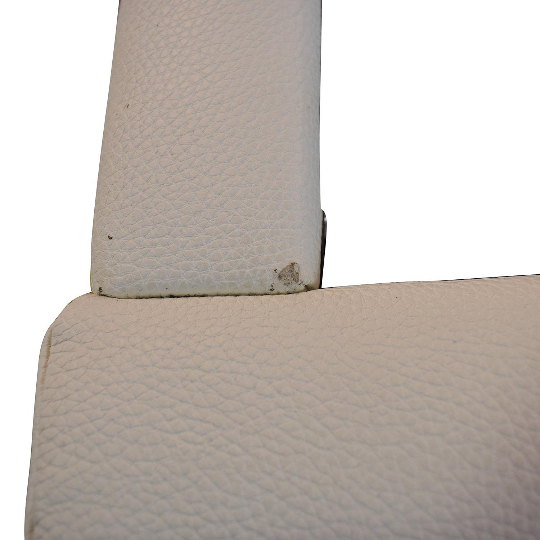 Modani White Leather Platform King Bed Frame sale