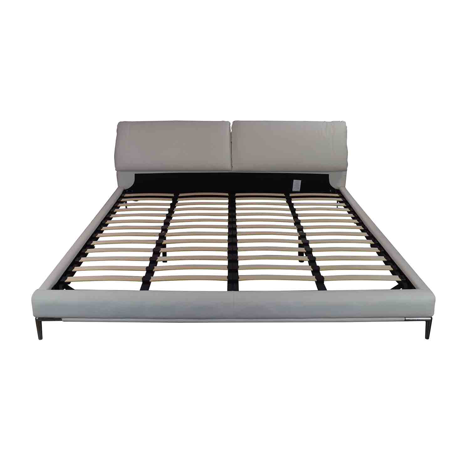 shop Modani White Leather Platform King Bed Frame Modani